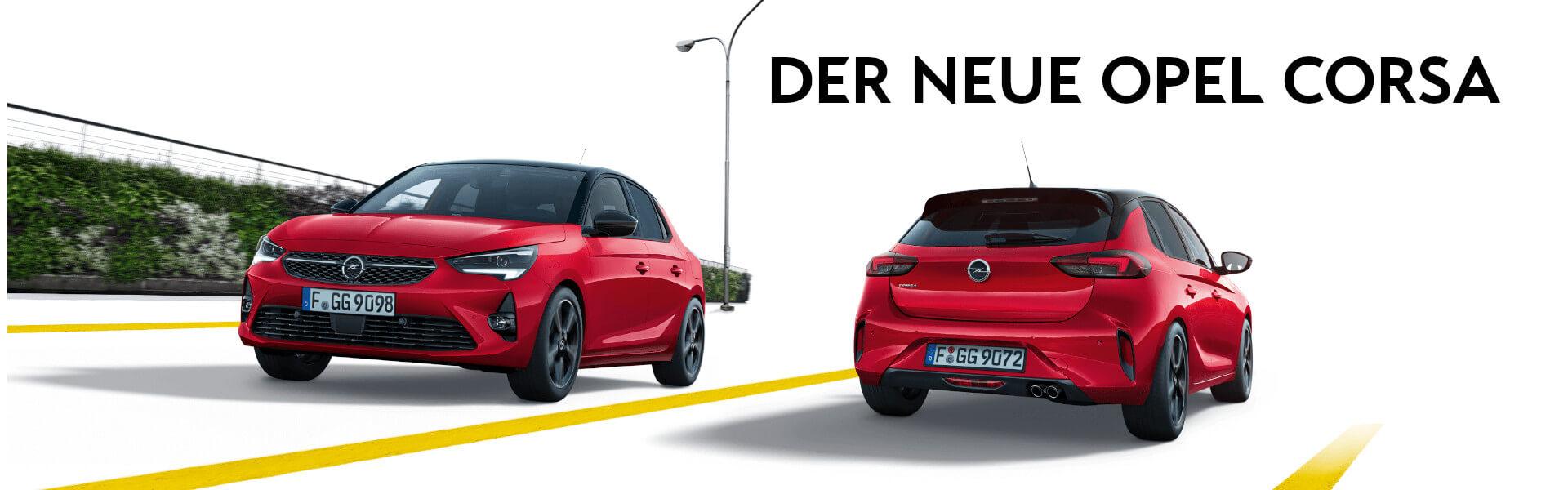 Opel Corsa in rot auf weißem Hintergrund