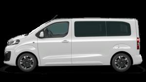 weißer Opel Bus Seitenansicht