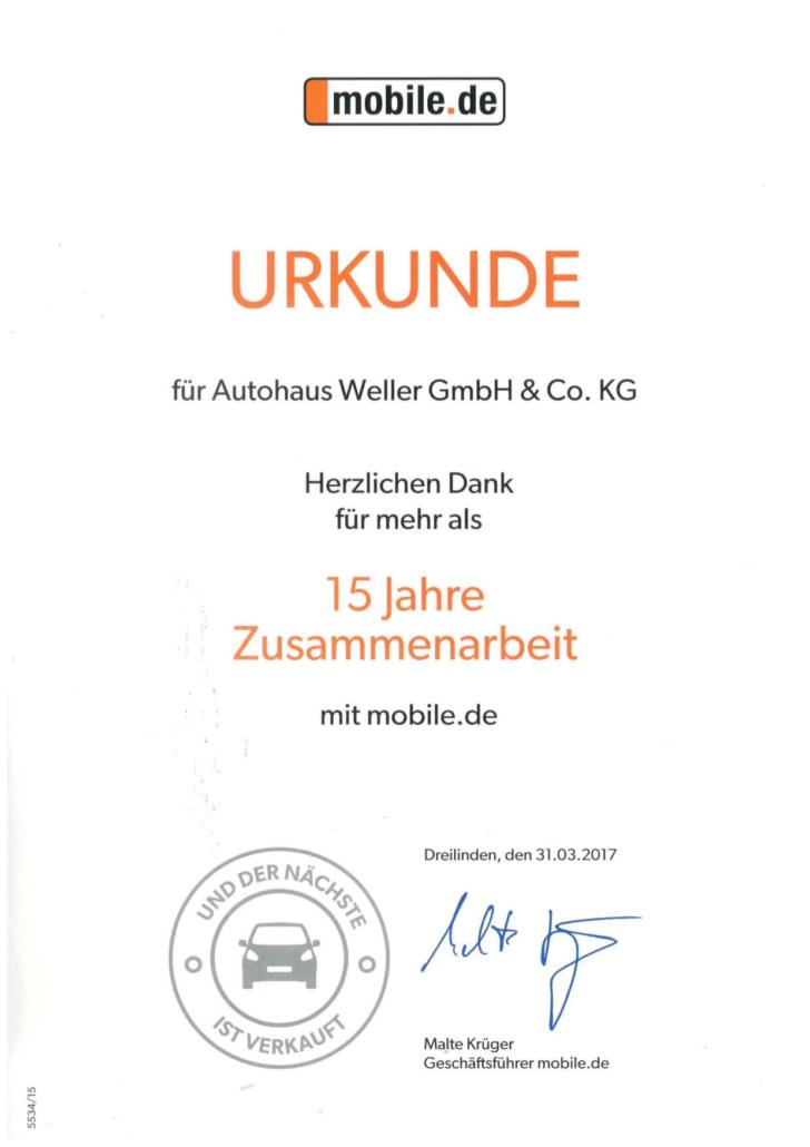 Weller Urkunde 15 Jahre Zusammenarbeit mit Mobile.de