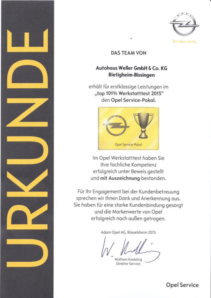 Urkunde Top 101 Werkstatttest 2015