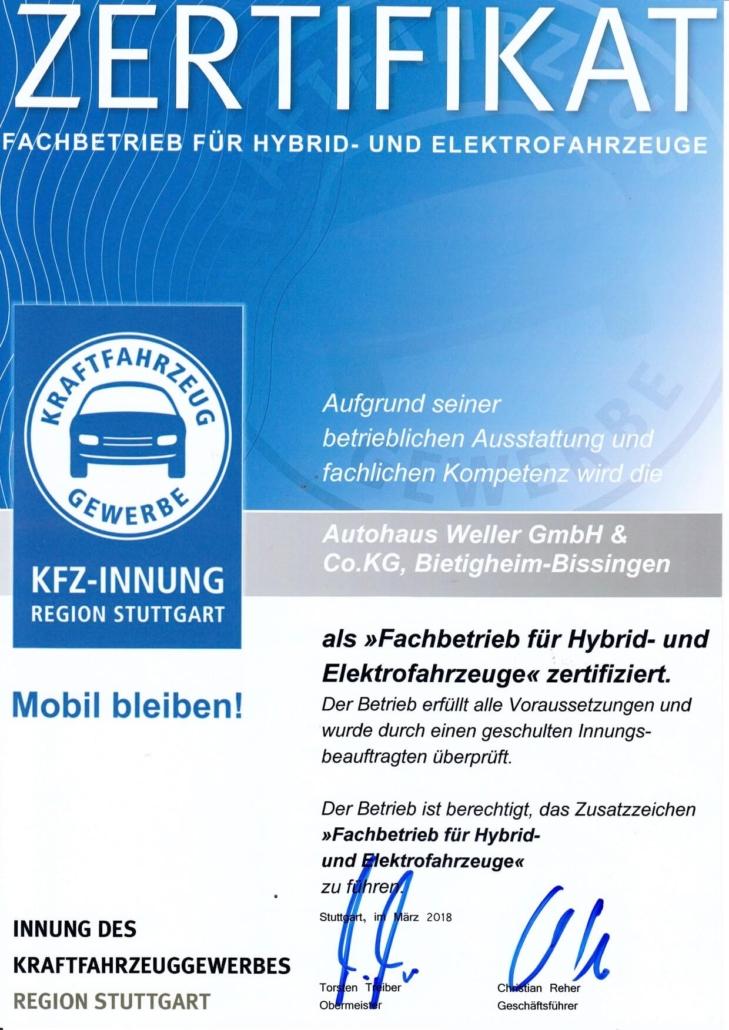 Zertifikat KFZ Innung Hybrid- und Elektrofahrzeuge zertifiziert