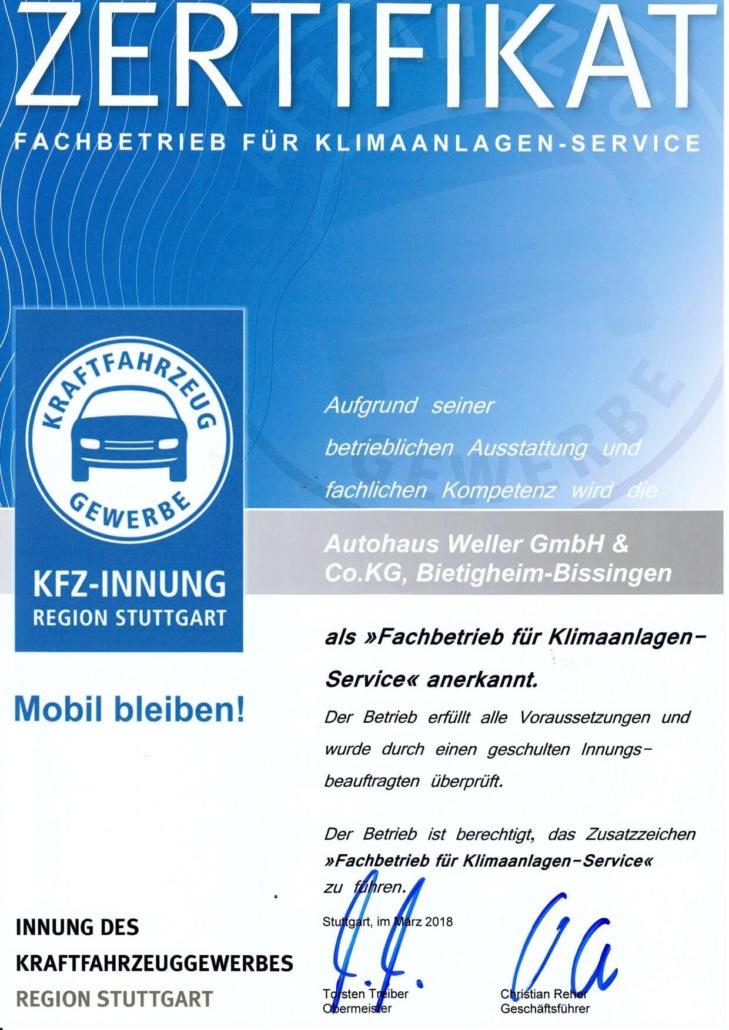 KFZ Innung fertifiziert für Klimaanlagenservice