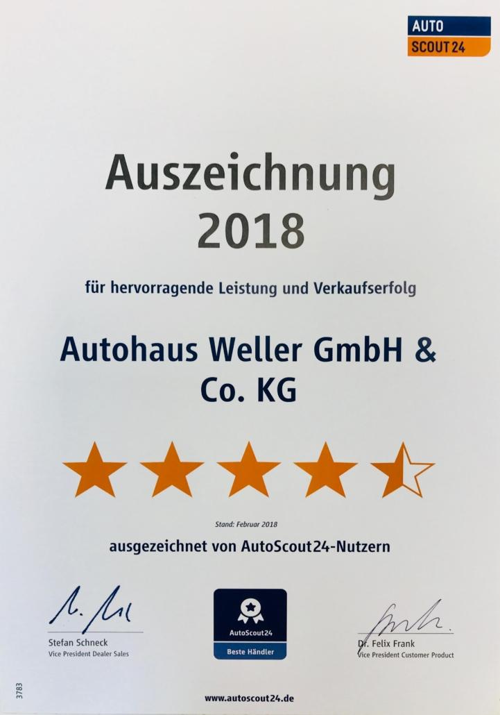 Auszeichnung AutoScout24 für Leistung 2018