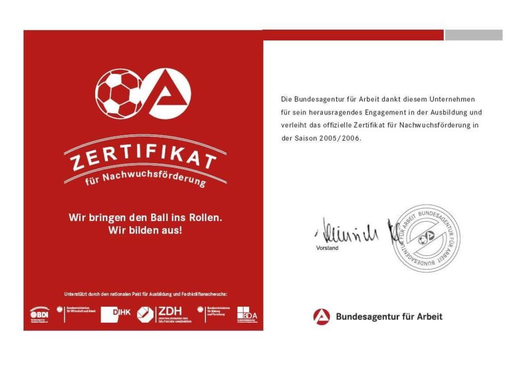 Zertifikat für Nachwuchsförderung 2005