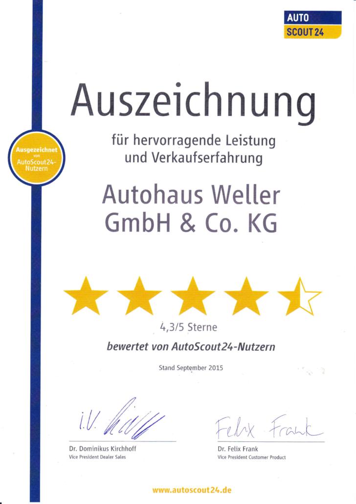 Auszeichnung AutoScout 24 Verkaufserfahrung