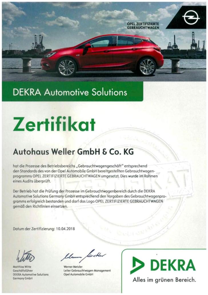 DEKRA Zertifikat Gebrauchtwagen Opel