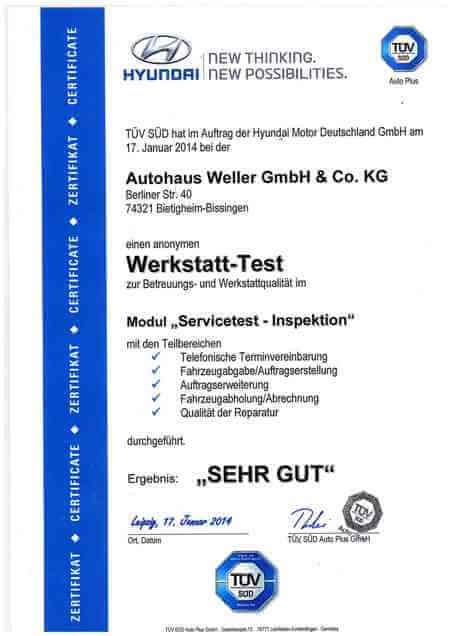 TÜV Süd Auszeichnung Hyundai Werkstatt-Test