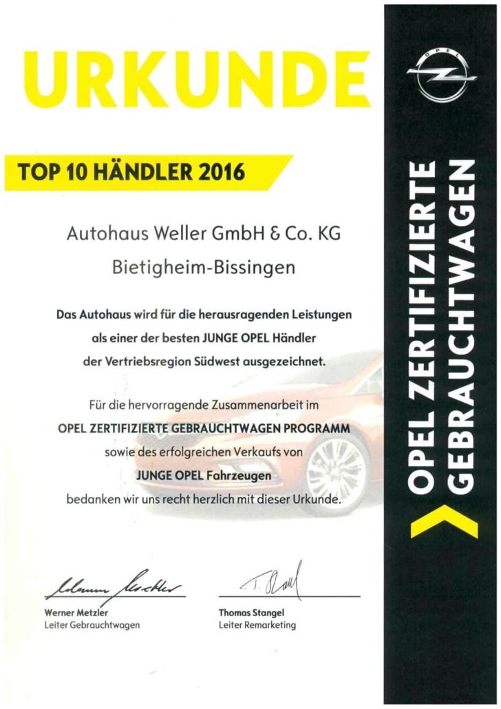 Top 10 Händler Opel zertifizierte Gebrauchtwagen Auszeichnung