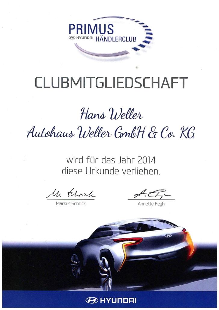 Hyundai Primus Händlerclub Auszeichnung