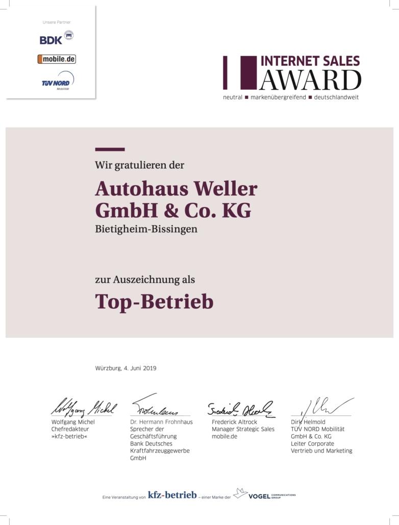 Auszeichnung Top Händler Internet Sales Award