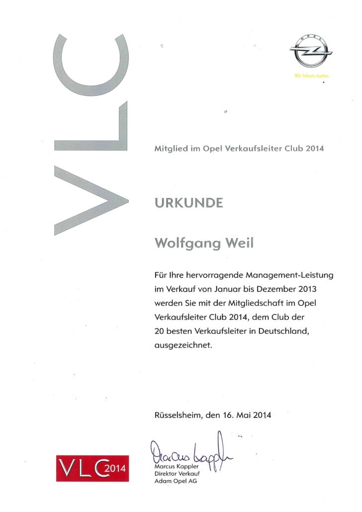 Opel Auszeichnung Verkaufsleiter Club