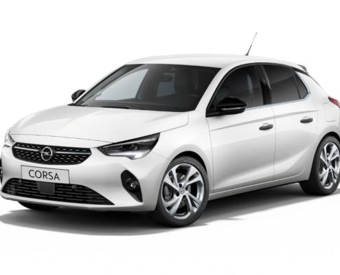 Opel Corsa weiß vor weißem Hintergrund